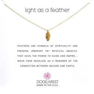 Dogeared LIGHT AS A FEATHER NECKLACE, GOLD Dipped